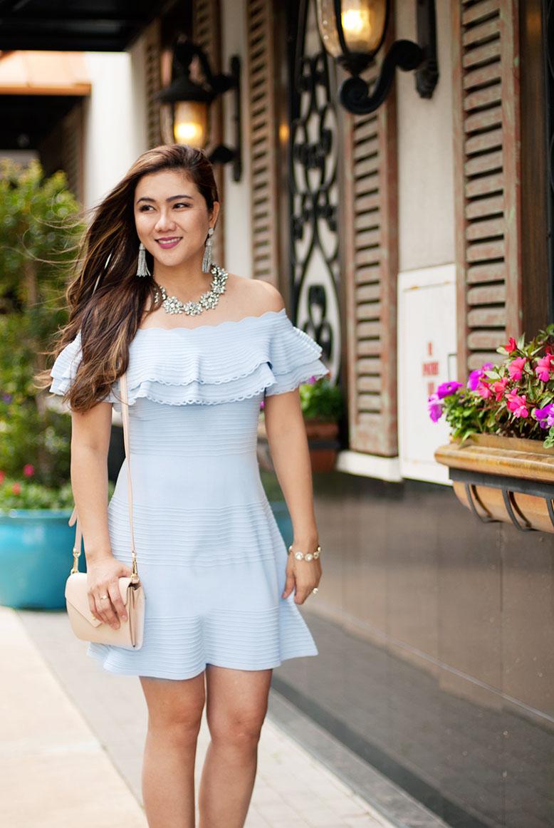 Light Blue Off-Shoulder Dress